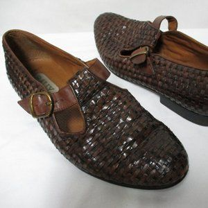Bally Vintage Woven Leather Buckle shoes Italy 9